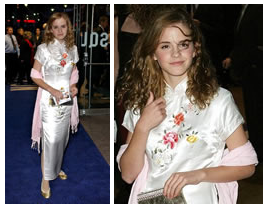 Emma Watson in a long white qipao dress