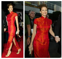 Kelly Preston in a gorgeous red qipao gown