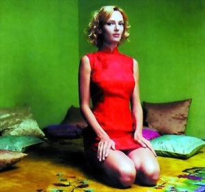 Uma Thurman in a red cheongsam
