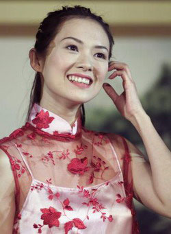 Zhang Ziyi in floral embroidered see through qipao